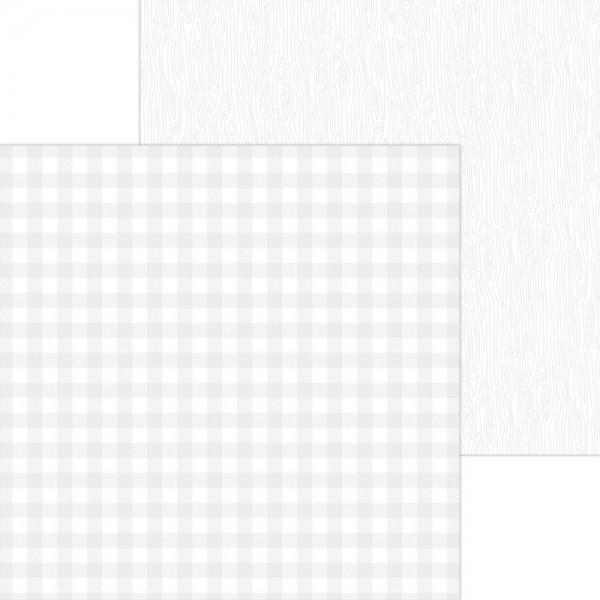 Doodlebug Petite Prints - Buffalo Check/Wood Grain - lily white