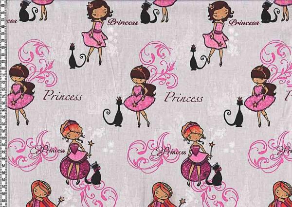 Baumwollstoff Lars Prinzessin grau/rosa
