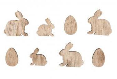 Holzstreuteile Hasen und Eier