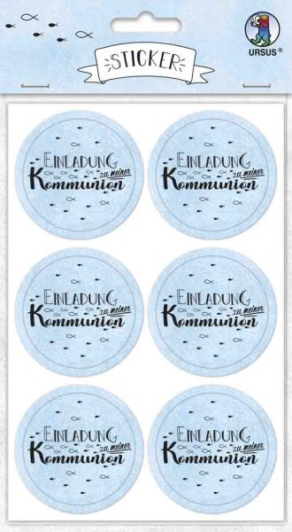 Ursus Sticker rund Einladung zur Kommunion hellblau