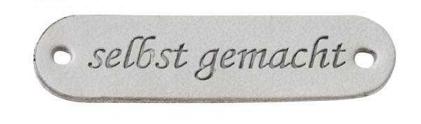 """Kunstleder Labels """"selbst gemacht"""" grau"""