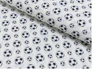 Baumwolldruck Percale Little Football schwarz/weiß