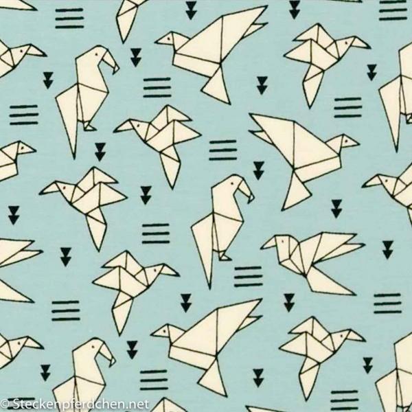 Baumwolljersey elastic Origami aqua/weiß