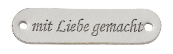 """Kunstleder Labels """"mit Liebe gemacht"""" grau"""