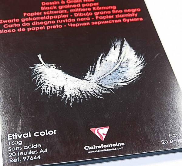 Clairefontaine Papierblock in schwarz mittlere Körnung