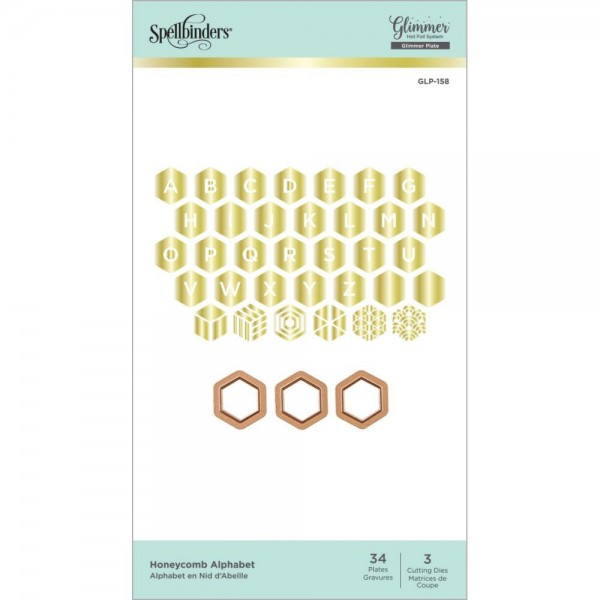 Spellbinders Hot Foil Plate - Honeycomb Alphabet