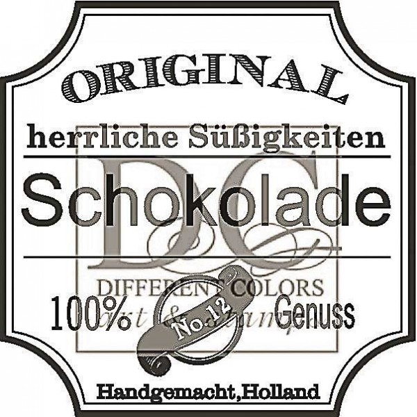 Different Colors Holzstempel Schokolade Label