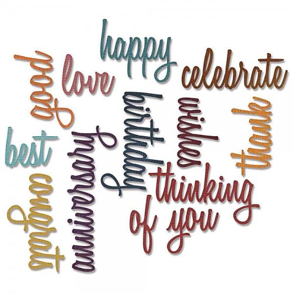 Tim Holtz Thinlits celebration words script