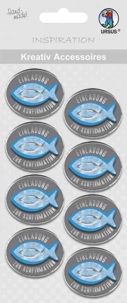 Ursus Kreativ Sticker Einladung zur Konfirmation blau/grau