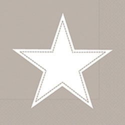Paper+Design Lunchservietten simply Star taupe