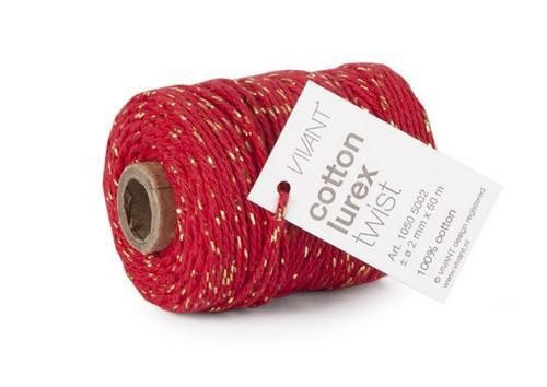 Cotton lurex twist Kordel rot/gold