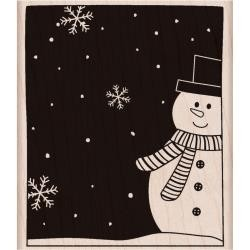 Hero Art Holzstempel snowman and snoflakes