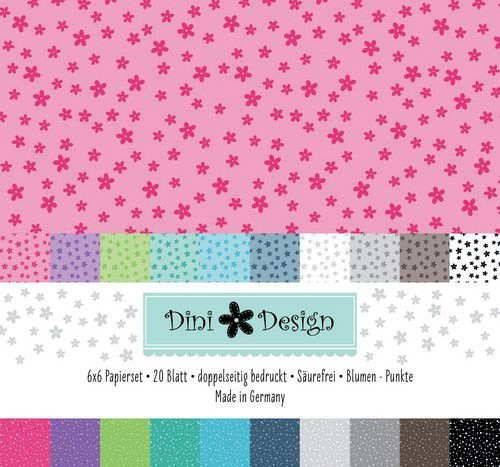 Dini Design Papierset Blumen/Punkte