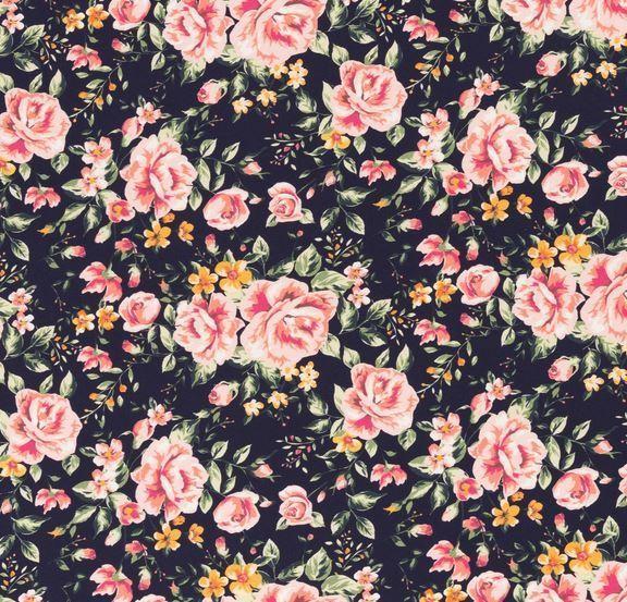 Baumwolljersey Jonne Rosen dunkelblau/rose