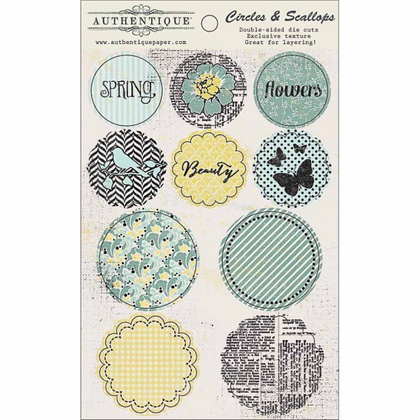 Authentique Renew double-sided die cuts in Scallops and Circles
