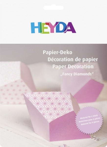 Papier Set Deko Diamanten rosa