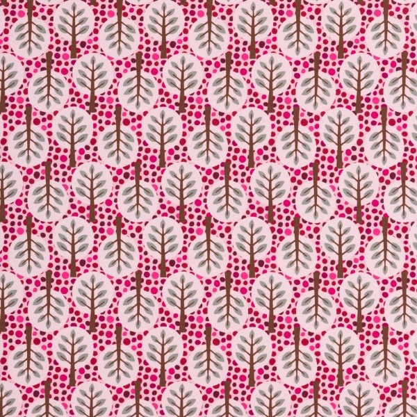 Baumwolljersey Steinbeck Woody Bäume pink/braun