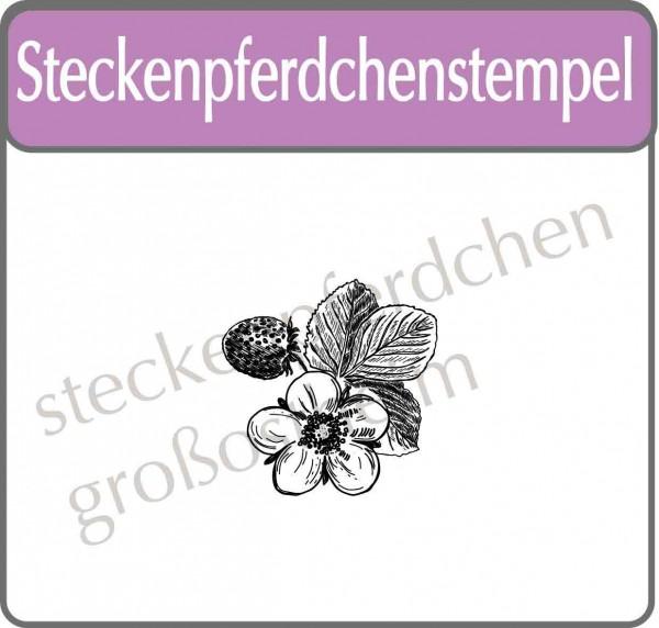 Steckenpferdchenstempel Erdbeere mit Blüte