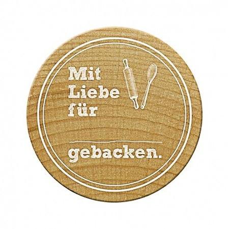 Woodies Holzstempel rund Mit Liebe gebacken 2