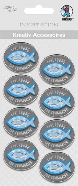 Ursus Kreativ Sticker Einladung Kommunion blau/grau