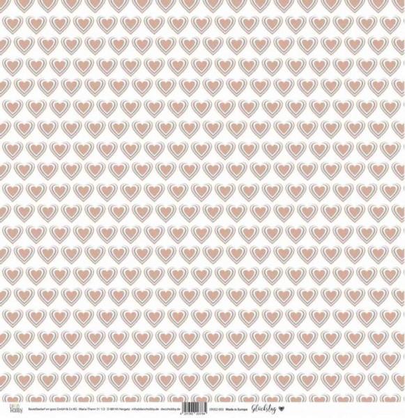 Deco Hobby Designpapier Glückstag Herzen/wirre Punkte in aprikot/grau