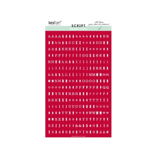 Kesi Art Script Alphabet Stickers rouge
