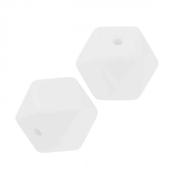 Schnulli-Silikon Perle sechseck weiß