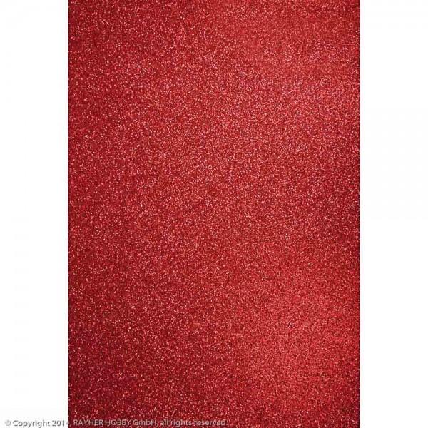 Rayher Bastelkarton Glitter A4 kardinalrot