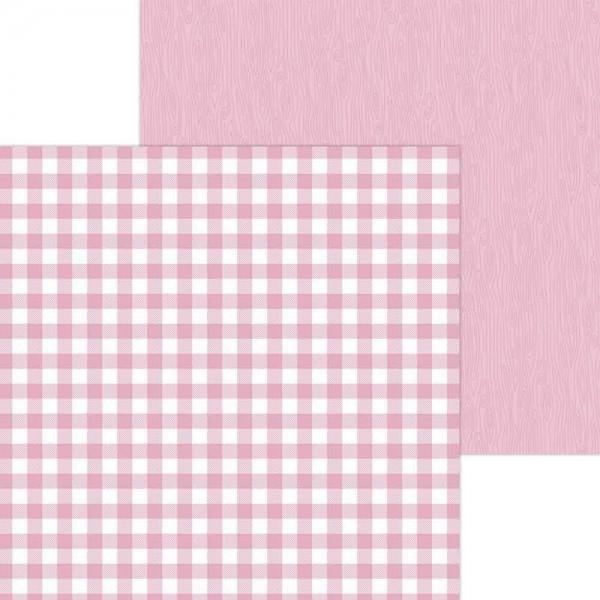 Doodlebug Petite Prints - Buffalo Check/Wood Grain - Cupcake