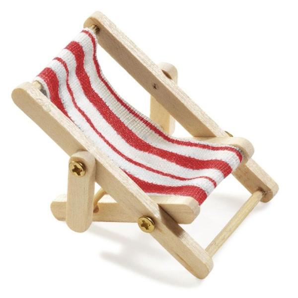 Miniliegestuhl 5 x 3,5 cm rot/weiß