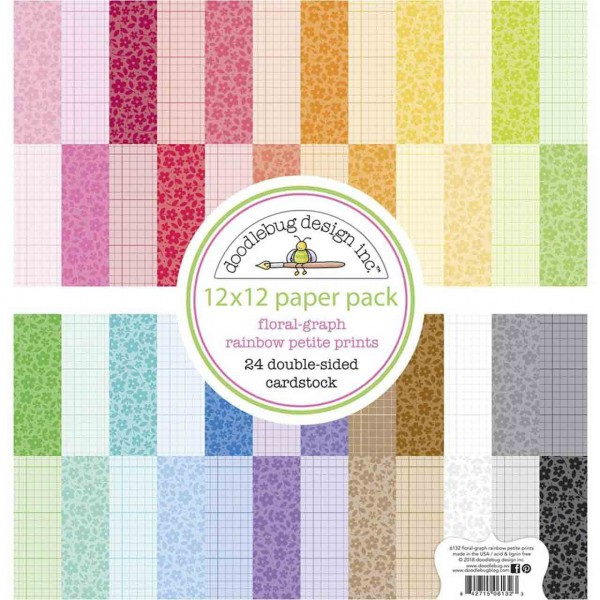 Doodlebug design Paper Pack flower/graph rainbow 12 inch