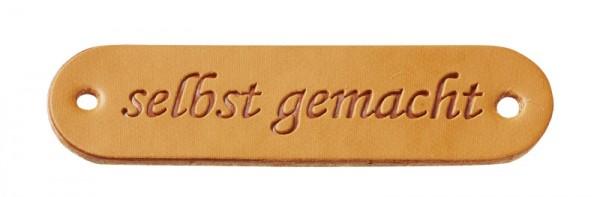 """Kunstleder Labels """"selbst gemacht"""" cognac"""