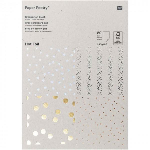 Rico Motivpapier Block Graukarton Punkte/Sterne