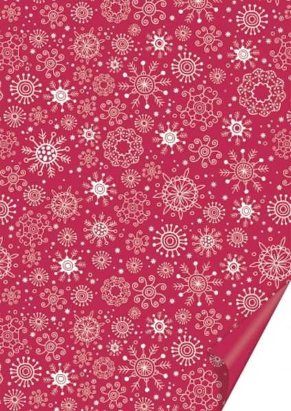 Bastelkarton A4 Schneeflocken rot/silber