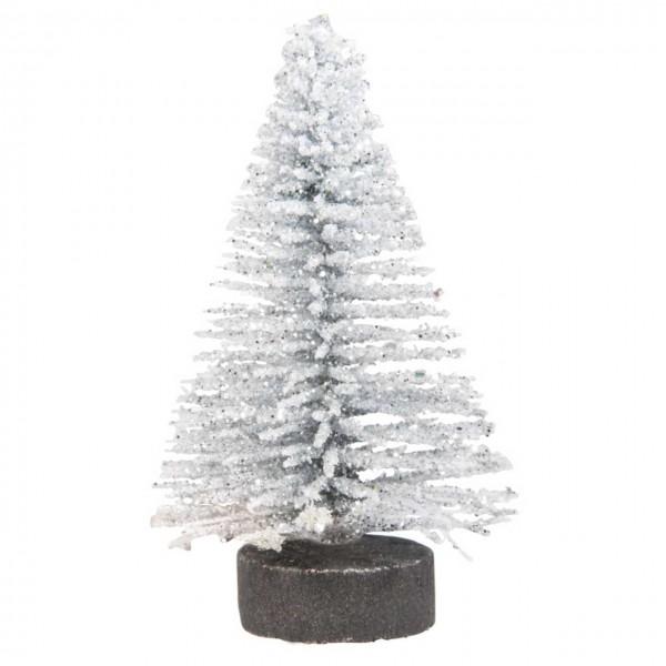 Deko Tannenbäume beglimmert silber mini