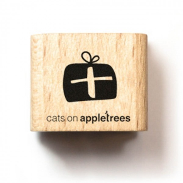 cats on appletrees Holzstempel mini Geschenk dick