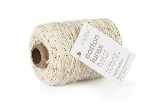 Cotton lurex twist Kordel natur/gold