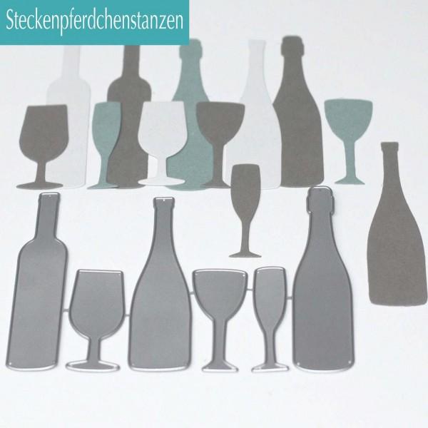 Steckenpferdchenstanze Flaschen u. Gläser Set groß