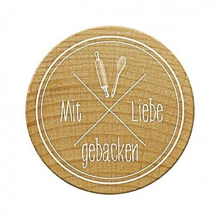 Woodies Holzstempel rund Mit Liebe gebacken
