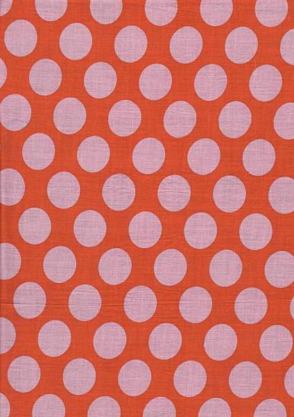 Baumwollstoff Nancy rot mit rosa Punkten