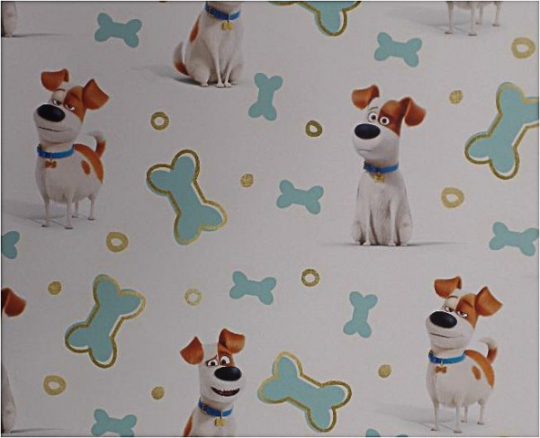 Baumwoll Jersey Hundi weiß/türkis