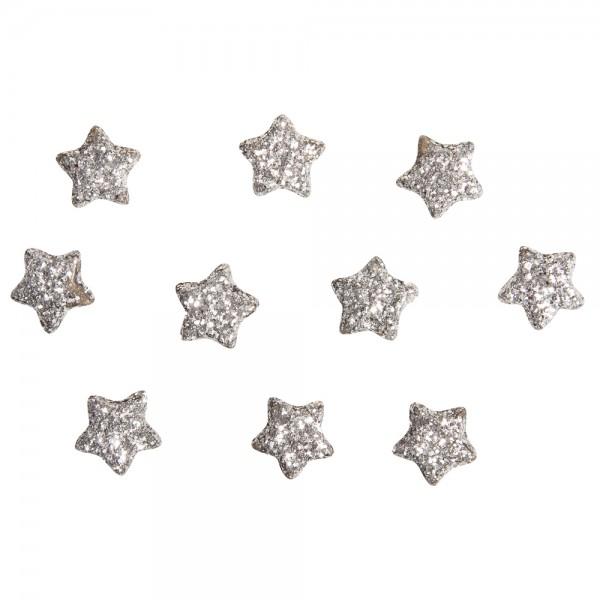 Rayher Plastik Dekoperlen Sterne silber mit Glitter