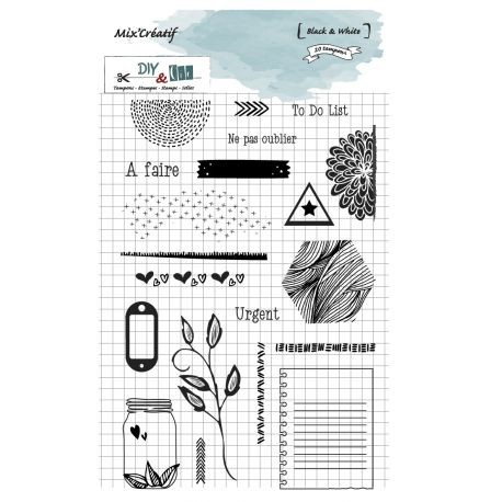 DIY and Cie Clear stamps - Black and White