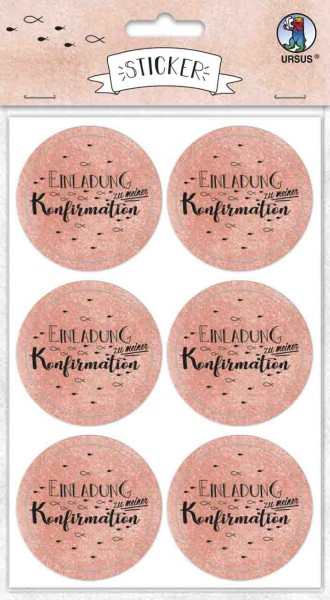 Ursus Sticker rund Einladung zur Konfirmation koralle