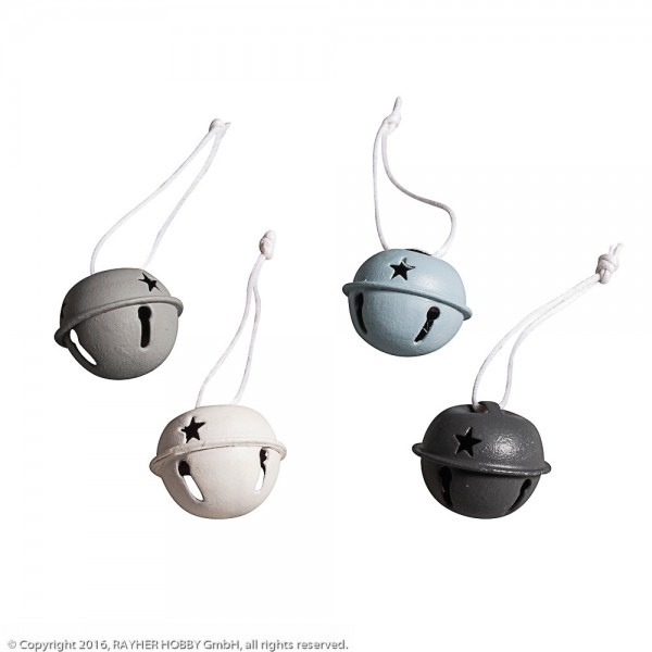 Rayher Metallglöckchen grau/blau/weiß
