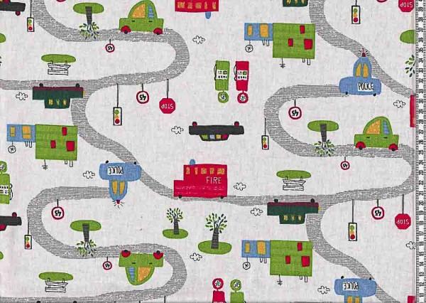 Baumwollstoff Lars Straßenverkehr weiß