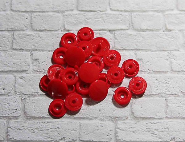 Kam Snap Druckknöpfe glänzend rot