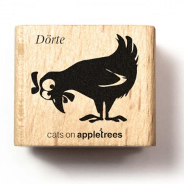 cats on appletrees Holzstempel Huhn Dörte