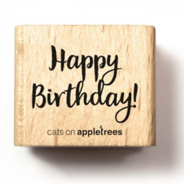 cats on appletrees Holzstempel Schriftzug Happy Birthday!
