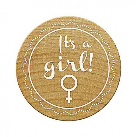 Woodies Holzstempel rund It`s a girl